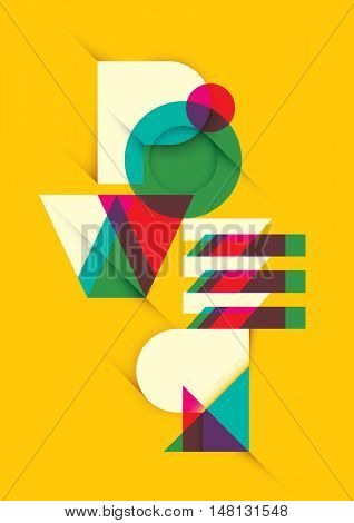 Abstract typographic illustration in color. Vector illustration.