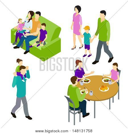 Family isometric set with parents and children sitting on sofa and at round table isolated vector illustration