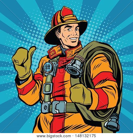 Rescue firefighter in safe helmet and uniform, pop art retro vector illustration