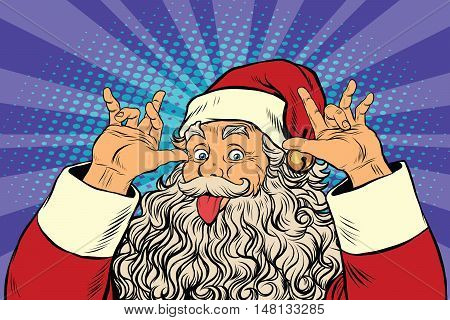 Santa Claus tease, good sense of humor, pop art retro vector illustration