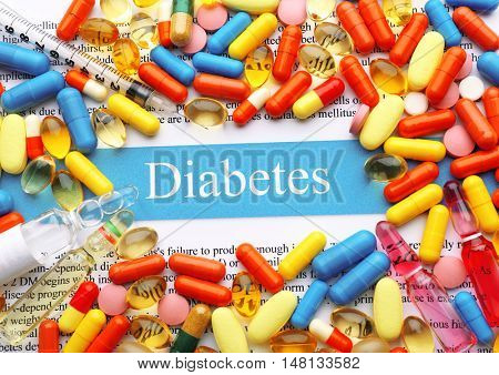 Lot of pills, diabetes concept