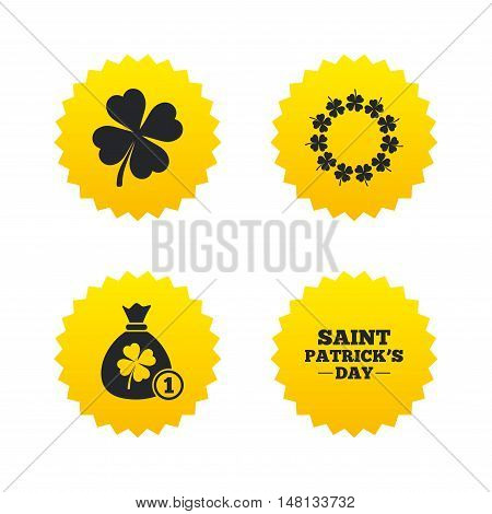 Saint Patrick day icons. Money bag with coin and clover sign. Wreath of quatrefoil clovers. Symbol of good luck. Yellow stars labels with flat icons. Vector