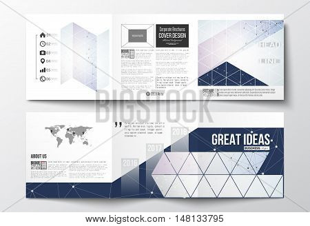 Vector set of tri-fold brochures, square design templates with element of world map. Polygonal backdrop with connecting dots and lines, connection structure, blue background. Digital or science vector