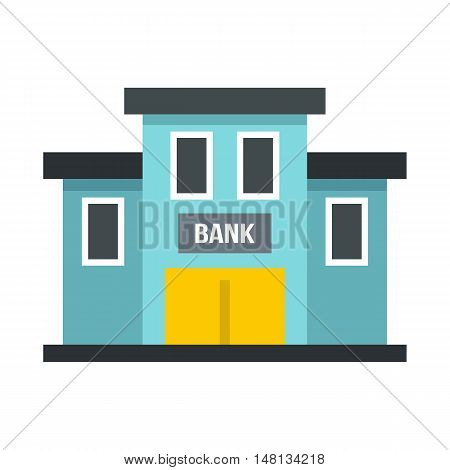 Bank building icon in flat style isolated on white background. Finance and safety symbol vector illustration