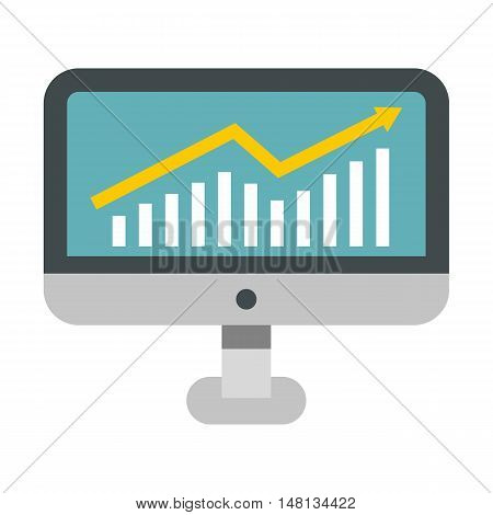 Statistics on monitor icon in flat style isolated on white background. Presentation symbol vector illustration
