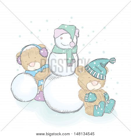 Vector illustration with cubs and a snowman. Drawing for cards, posters or prints on clothes. Cute teddy bears.
