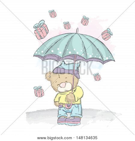 Cute teddy bear under an umbrella. Rain gifts. Vector illustration for a card or poster. Print on clothes.