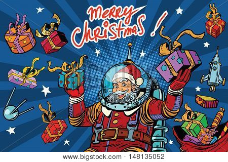 Space Santa Claus in zero gravity with Christmas gifts, pop art retro vector illustration. Greeting the inscription Merry Christmas