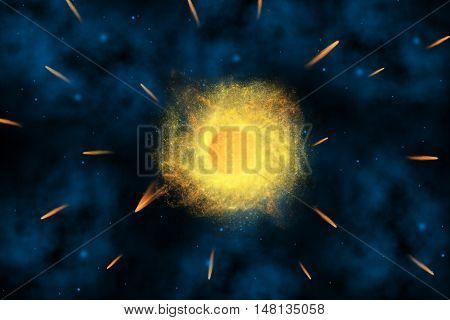comet from planet explosion in universe for background
