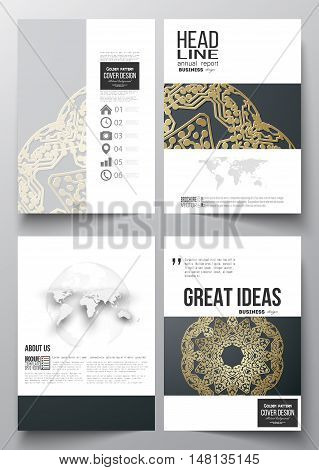 Set of business templates for brochure, magazine, flyer, booklet or annual report. Golden microchip pattern on dark background, mandala template with connecting dots and lines, connection structure.