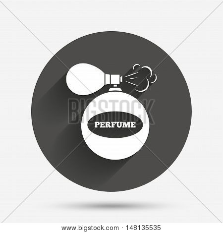 Perfume bottle sign icon. Glamour fragrance symbol. Circle flat button with shadow. Vector