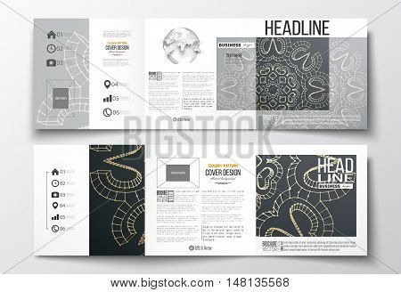 Set of tri-fold brochures, square design templates with element of world globe. Polygonal backdrop with golden connecting dots and lines, connection structure. Digital scientific background