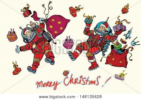 Space Santa Claus in zero gravity with Christmas gifts, pop art retro vector illustration. White background isolated