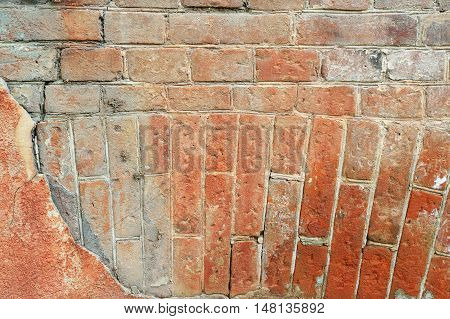 Old cracked concrete vintage circular masonry brick wall background, , old brick wall pattern