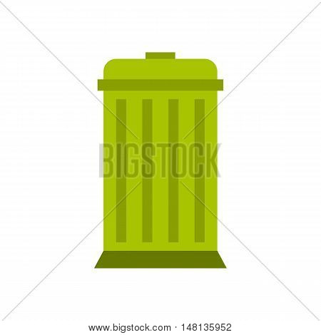 Eco dustbin icon in flat style isolated on white background. Ecology symbol vector illustration