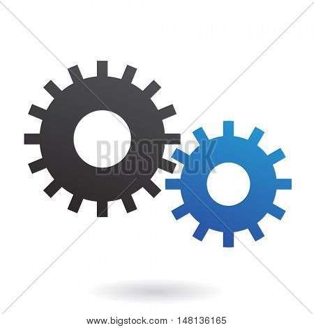 Blue and black cogs on white backround
