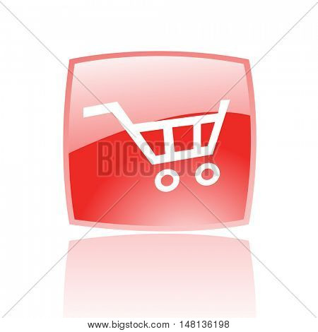 Red cart isolated on white