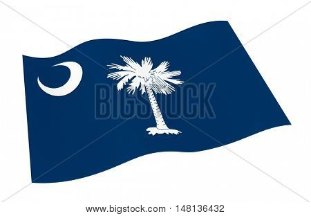 South Carolina flag isolated on white background from world flags set. 3D illustration.