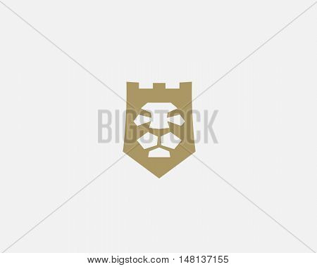 Lion shield, fortress, tower vector logo design template. Lion face crown logotype