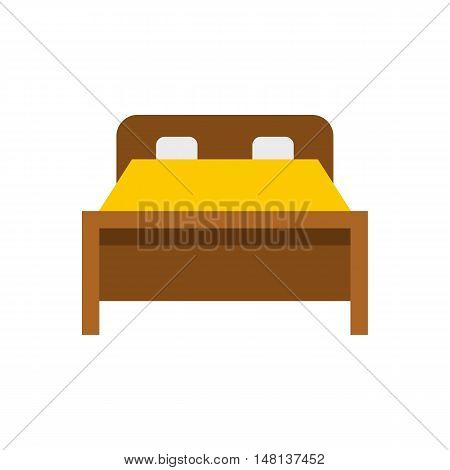 Bed icon in flat style isolated on white background. Furniture symbol vector illustration