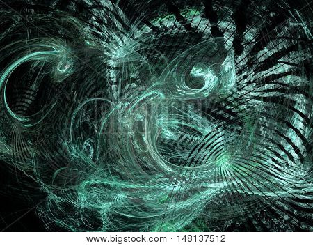 Abstract blue chaos fractal on black background