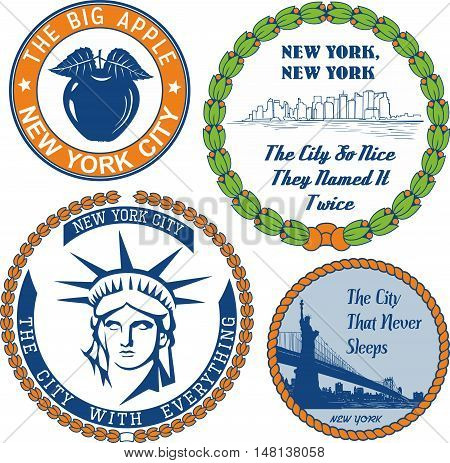 Generic Stamps And Signs With Nickname Of New York City