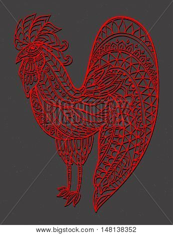 Zodiac Signs of Rooster red. Rooster Chinese New year 2017 beautiful illustration ornament rooster. Coloring book for adults. Cock vector