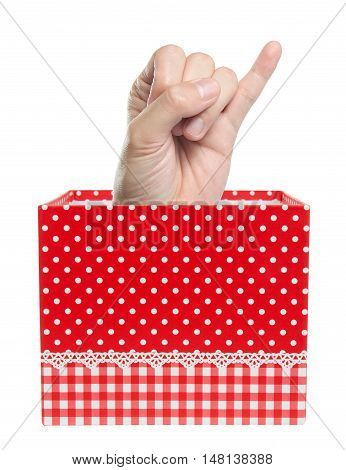 little finger show in gift box isolated