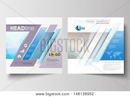 Business templates for square design brochure, magazine, flyer, booklet or annual report. Leaflet cover, abstract flat layout, easy editable blank. Abstract triangles, blue triangular background, modern colorful polygonal vector.