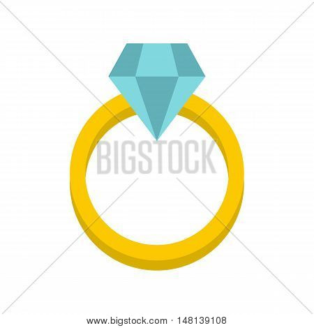Womens wedding ring icon in flat style isolated on white background. Jewelry symbol vector illustration