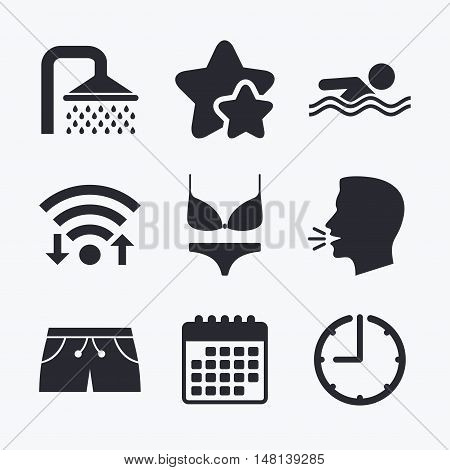 Swimming pool icons. Shower water drops and swimwear symbols. Human swims in sea waves sign. Trunks and women underwear. Wifi internet, favorite stars, calendar and clock. Talking head. Vector