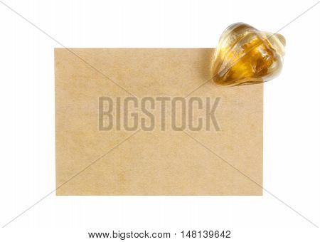 recycle paper note with paperweight on white included clipping path