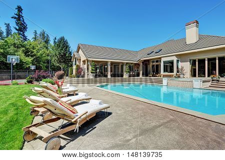 Great Backyard With Swimming Pool .american Suburban Luxury House