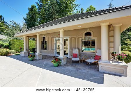 View Of Luxury Guest House With Column Porch.