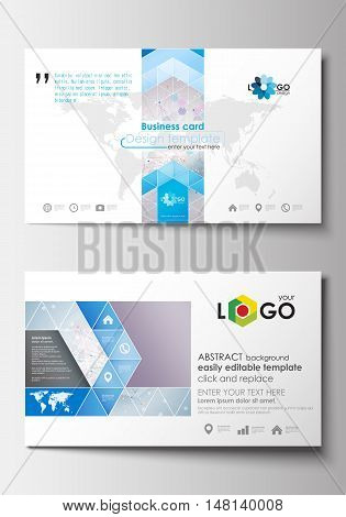 Business card templates. Cover design template, easy editable blank, abstract flat layout. Molecule structure on blue background. Science healthcare background, medical vector.