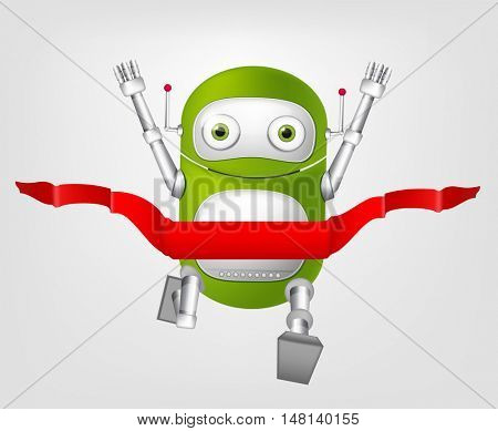 Cartoon Character Cute Robot Isolated on Grey Gradient Background. Finish.