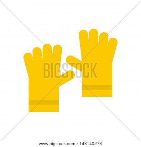 Yellow rubber gloves icon in flat style isolated on white background. Hand protection symbol vector illustration