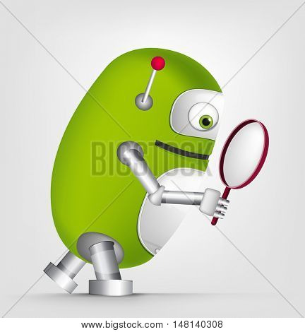Cartoon Character Cute Robot Isolated on Grey Gradient Background. Search.