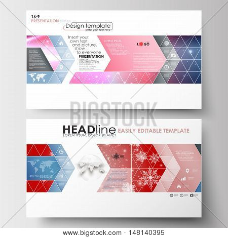 Business templates in HD format for presentation slides. Easy editable abstract layouts in flat design. Christmas decoration, vector background with shiny snowflakes
