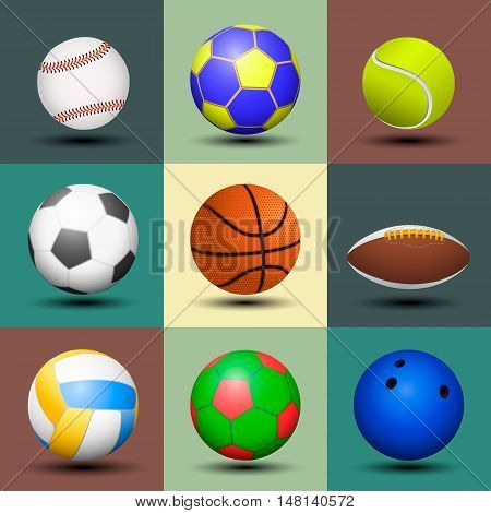 Sport ball set isolated. Vector color illustration.