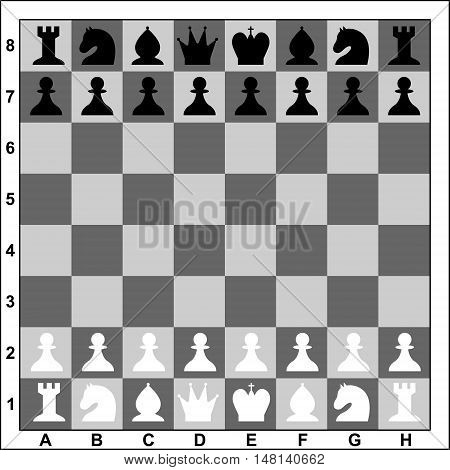 Chess board with black and white figures. Flat style. Vector illustration.