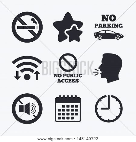 Stop smoking and no sound signs. Private territory parking or public access. Cigarette symbol. Speaker volume. Wifi internet, favorite stars, calendar and clock. Talking head. Vector