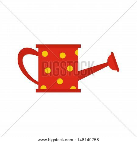 Red watering can icon in flat style isolated on white background. Gardening symbol vector illustration