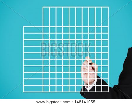 businessman writing on blank feature comparison blue background
