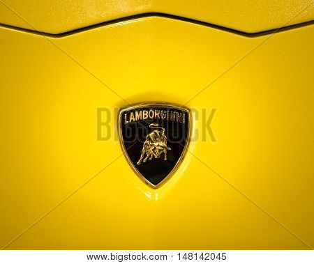 Verona Italy - May 09 2015: The Lamborghini logo shows a bull or Taurus that is the brand founder's zodiac sign.