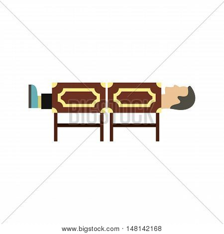 Focus cutting man in circus icon in flat style isolated on white background. Entertainment symbol vector illustration