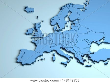 Europe 3D map shape illustration continent countries mainland