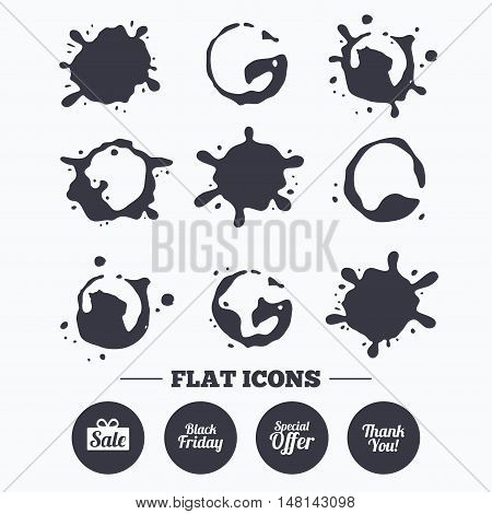 Paint, coffee or milk splash blots. Sale icons. Special offer and thank you symbols. Gift box sign. Smudges splashes drops. Vector