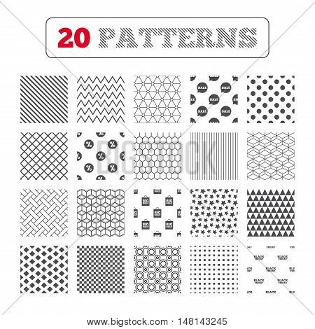 Ornament patterns, diagonal stripes and stars. Sale speech bubble icon. Discount star symbol. Black friday sign. Big sale shopping bag. Geometric textures. Vector