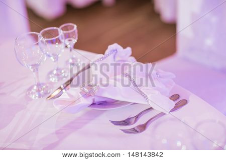Beautifully organized event - served banquet tables ready for guests.
